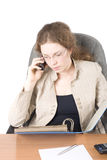 The business woman with phone III Stock Photo
