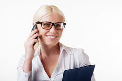 Business woman with phone isolated Stock Photo