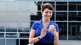 Business woman with phone outdoors stock footage