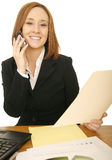Business Woman On The Phone With Report royalty free stock image