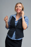 Business woman phone talking, looking up Royalty Free Stock Image