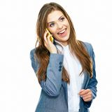 Business woman phone talking portrait. White background isolated Royalty Free Stock Images