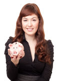 Business woman with a piggy bank. On white background Stock Photo
