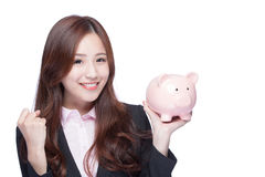 Business woman with piggy bank Royalty Free Stock Photography