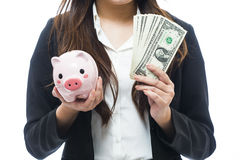Business woman with a piggy bank to get hold dollars Royalty Free Stock Image