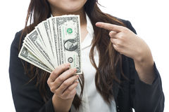 Business woman with a piggy bank to get hold dollars Royalty Free Stock Photo