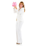 Business woman with piggybank Stock Photo