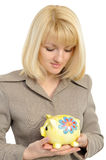 Business woman with a piggybank isolated  Stock Photos
