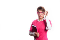 Business woman in pink with a diary in hands. Glasses Stock Photos
