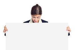 Business woman with a placard Stock Photo