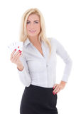 Business woman with playing cards isolated on white Stock Image