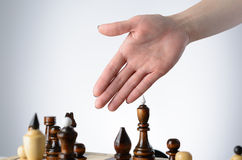 Business woman playing chess Royalty Free Stock Photo