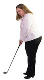 Business woman playing golf Stock Images