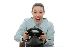 Business woman playing race game Stock Photo