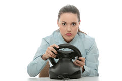 Business woman playing race game Royalty Free Stock Photo