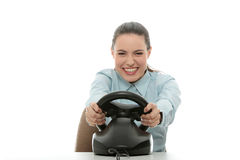 Business woman playing race game Royalty Free Stock Image
