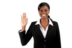 Business woman pledging. This is an image of business woman with her hand up Stock Photos