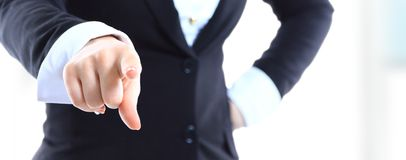 Business woman point finger at you Royalty Free Stock Image