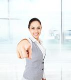 Business woman point finger you looking camera stock photography