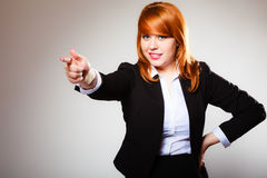 Business woman point finger at you Stock Photo