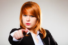 Business woman point finger at you Stock Images