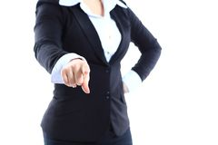 Business woman point finger at you looking at camera Royalty Free Stock Photography