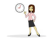 Business. Woman pointing at the clock royalty free illustration