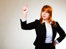 Business woman pointing copy space. Business woman pointing with finger empty copy space, businesswoman showing side, concept advertisement product push touch Royalty Free Stock Photo