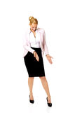 Business woman pointing down at her shoe Stock Photo