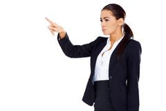 Business woman pointing at empty space Stock Photo