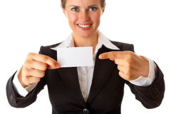 Business woman pointing finger on business card Royalty Free Stock Photo