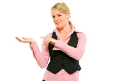 Business woman pointing finger on empty hand Royalty Free Stock Photo