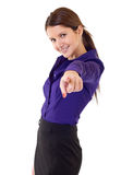 Business woman pointing finger at you stock photography