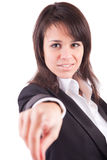 Business woman, pointing forward Royalty Free Stock Image