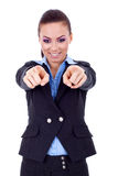 Business woman pointing her fingers Royalty Free Stock Photo