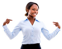 Business woman pointing at herself Stock Photography