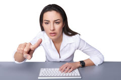 Business woman pointing at imaginary button Royalty Free Stock Images