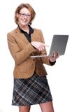 Business Woman Pointing at Laptop Royalty Free Stock Images
