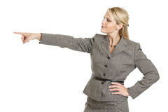 Business woman pointing left Royalty Free Stock Photography