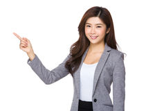 Business woman pointing one finger up Royalty Free Stock Photo