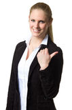 Business woman pointing with one hand Stock Photos