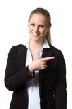 Business woman pointing with one hand Stock Images