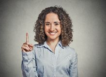 Business woman pointing out we are number one Royalty Free Stock Image