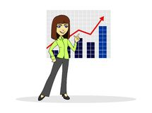Business. Woman pointing at the schedule stock illustration