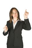 Business woman pointing on screen Stock Photo