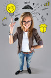 Business woman pointing showing and looking to the side up Stock Images