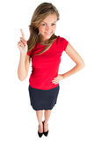 Business woman pointing showing Stock Images