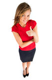 Business woman pointing showing and looking Royalty Free Stock Images