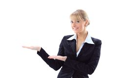 Business woman pointing at something interesting Stock Image