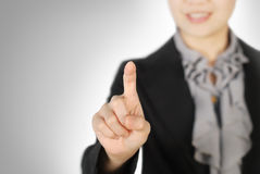 Business woman pointing someting Stock Photography